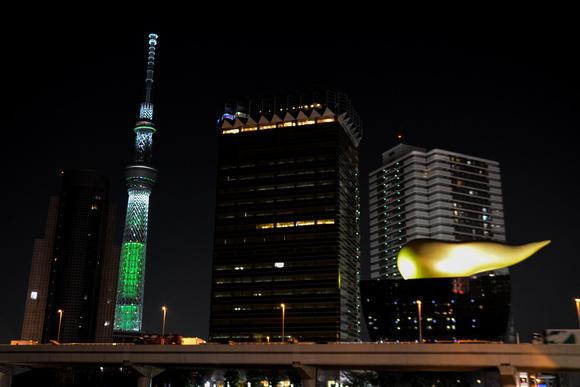 Tokyo Sky Tree and the Ashahi Beer Hall at night