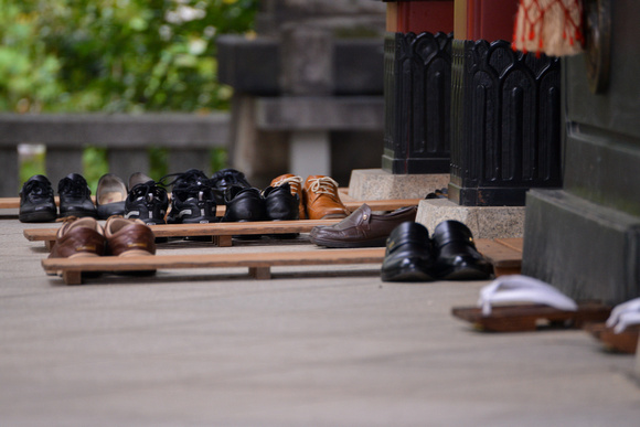 Shoes at the entrance to the main hall